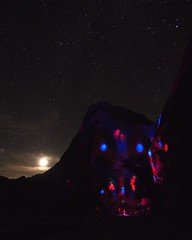 the night time is the right time (l3Wild) Tags: longexposure light sky moon mountain face night pen stars lights monkey robot sand desert hill experiment olympus astrophotography cave anzaborrego trippy mudcaves arroyotapiado flickrandroidapp:filter=none epm2
