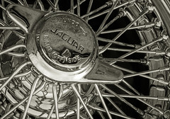 Chromium (Mister Electron) Tags: blackandwhite bw cars monochrome sepia shiny spokes wheels chrome jaguar toned classiccars polished sportscars chromium wirewheels jaguarmk2 nikond800