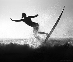Longboard up High (McSnowHammer) Tags: bw france sports silhouette ir mono surf action wave surfing longboard infrared pro roxy justine roxypro 2013 mauvin