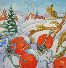 Rose Hips on Christmas Morn Storybook Cottage Series (cottagelover1953) Tags: christmas original winter snow rose illustration vintage watercolor village cottage retro hips evergreen bungalow whimsical
