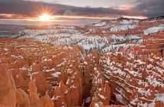 Bryce Sunrise (Zack Mensinger) Tags: snow southwest sunrise utah nationalpark sandstone unitedstates canyon hoodoo bryce nationalparkservice sunray hoodoos brycecanyonnationalpark 2013 canon40d