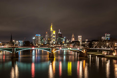 Frankfurt Skyline (Nihil Baxter007) Tags: city bridge sky tower fog skyline night river lights office nebel hessen nacht frankfurt main himmel stadt brcke fluss turm bro spiegelung lichter commerzbank langzeitbelichtung hessian mainkai