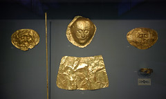 Gold masks from Grave Circle A at Mycenae, Greece