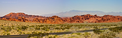 Valley of Fire Roadside Pano ( julev69  1,500,000+ Views- THANK YOU!) Tags: statepark road travel camping mountains hot valleyoffire beautiful religious ancient scenery desert hiking pano nevada hunting scenic sunny visit indians roadside redrock popular picturesque gov petroglyphs humid photoopp activities ceremonies overton jeverhart julev69 jeverhartjulev69abovealltherest julev69 julieeverhart picknicing