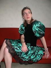 Lace (Paula Satijn) Tags: cute sexy green girl beauty shiny dress legs lace skirt satin silky classy elegance