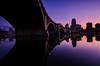 Downtown Minneapolis (Riddhish Chakraborty) Tags: sunset reflection mississippi twilight nikon cityscape dusk minneapolis mn urbanfragment 3rdavebridge top20bridges