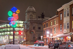 Fore Street, Boothby Square, Winter Night (Corey Templeton) Tags: boothbysquare city customhouse forestreet holidays maine newengland night oldport other portland portlandmaine snow winter unitedstates