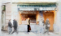 Why Hurry Now? (sbox) Tags: spain watercolour texture shop café restaurant urban street streetscape painting painterly sbox declanod seville sevilla españa churros