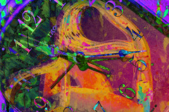 El tiempo (seguicollar) Tags: imagencreativa photomanipulación art arte artecreativo artedigital virginiaseguí silla reloj horas números manillas tiempo horario color colorido orange verde green naranja