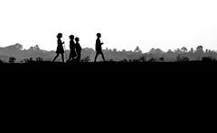Pioneer (mailmesanu20111) Tags: silhouette nikon village remotevillage poverty childhood children love friendship way path landscape people photography creativephotography creation light shadow blackandwhitephotography