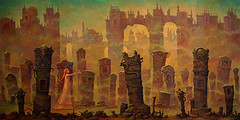 Schlafwandlerin (Sleepwalker) by Michael Hutter (JamesGoblin) Tags: oil painting oilpainting surreal surrealism art girl sleepwalk sleepwalking night monument monuments graveyard stone wall city landscape fog twilight pyjama dress woman women girls