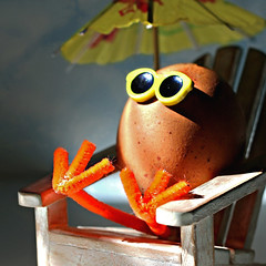 Eggciting day at the beach! (Through Serena's Lens) Tags: mm macromondays egg brown speckles fun humour cute colorful sunny sunglasses umbrella adirondack chair pipecleaner stilllife macro sunlight