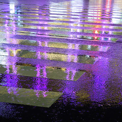 水様=Appearance of water-141/Stripe in the rain (kouichi_zen) Tags: rain road ground blue stripe reflection night water city