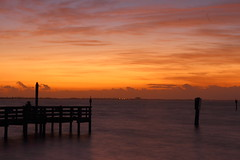 FISHING IN THE MORNING (R. D. SMITH) Tags: fishing morning dawn orange canoneos7d melbourneflorida sunrise water eos7d indianriver clouds sky river pier