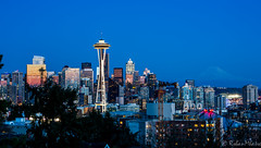 Seattle Downtown (Rohan Mhatre) Tags: 5dmarkii america blue hour building canon city colorphotoaward downtown dusk explore explored grunge kerry park light night noche noctambule nocturne nocturnes northwest nuit pacific puget sound scenery seattle sky skyline skyscraper sunset tower town twilight usa view vista washington architecture outdoor