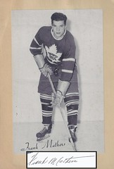 1944-63 NHL Beehive Hockey Photo / Group II - FRANK MATHERS (Defence) (Hall of Fame 1992 / Builder) (b. 29 Mar 1924 - d. 9 Feb 2005 at age 80) - Autographed Hockey Card / Cut (Toronto Maple Leafs) (#428) (Baseball Autographs Football Coins) Tags: hockey beehive 1934 1967 19341967 groupi groupii groupiii woodgrain torontomapleleafs bostonbruins newyorkrangers montrealcanadiens chicagoblackhawks detroitredwings montrealmaroons newyorkamericans card photos hockeycards brooklynamericans nationalhockeyleague nhl frankmathers hersheybears hof hhof hockeyhalloffame halloffame