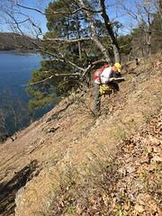 Scott doing fieldwork on a shale barren (Pete&NoeWoods) Tags: f16sch02 huntingdoncounty hawnsoverlookbarren shalebarren staff staffdoingfieldwork scottschuette