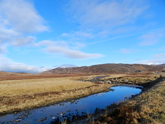 Black Water River, Highlands of Scotland, Feb 2017 (allanmaciver) Tags: highlands scotland black water river curve moor remote islolation ullapool garve weather blue skies warm clouds allanmaciver