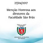Entrega de menção honrosa aos diretores da Faculdade São Brás.