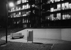 (Alessio Conti) Tags: analogue analogic film filmcamera filmphotography ishootfilm ilovefilm filmisnotdead night dark modern building emptiness solitude olympus mju ilford delta 3200iso grain bench offices