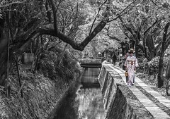 """We ourselves must walk the path"" (FrecKles:)) Tags: path philosopherspath caminhodofilósofo kyoto quiotojapão japan couple casal"