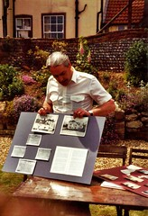 Peter Harrison, landlord of The Hill House, with historic documents (photo by Margaret Bird)