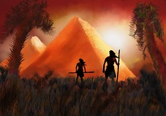 The Hunters' Discovery (Pat McDonald) Tags: pyramids hunters discovery robjoseph artrage digitalart mystery palmtrees forest spears