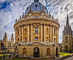 Radcliffe Camera (Brett of Binnshire) Tags: historicbuilding england stonebuilt highdynamicrange weather collegeuniversity clouds oxford hdr lrhdr dome building manipulations stairs lightroomhdr architecture historicalsite school tower oxfordshire locationrecorded