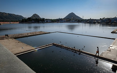 Pushkar Lake (realstephenwhite) Tags: lines xe2 ghat landscape holycow travel india water mountains cows animals lake pushkar ghats fujifilm