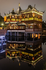 Night reflections (Oleg S .) Tags: china shanghai travel architecture chinesearchitecture flickr night pavilion pond reflection water