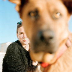 Doggo (.Till) Tags: dog doggo girl portrait sun summer blue sky italy beach eyes blur bokeh film hasselblad kodak 80mm