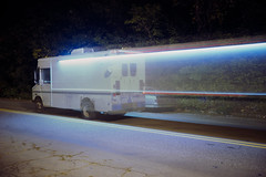 (patrickjoust) Tags: hampden baltimore maryland icecream truck oldcar blur fujicagw690 fujichromet64 ice cream car auto automobile vehicle moving parked road