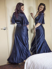 Compound Twirl (Pennant) Tags: dressinggown hotel mirror satin vintage nightgown highheels gold navy lace purple bed