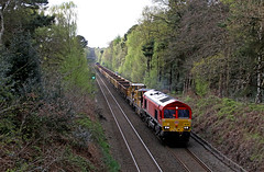 66128 - Bescot-Ledburn junction (Andrew Edkins) Tags: 66128 class66 66021 suttonpark suttoncoldfield freighttrain freightline shed geotagged railwayphotography canon park trees engineerstrain topandtail westmidlands wagons saturday spring april easterweekend