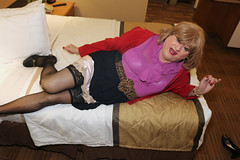 new123511-IMG_9544t (Misscherieamor) Tags: transvestite sissy crossdress tgirl transgender travestis travestie travesti tranny tv ts cd tg m2f tgurl gurl mature xdresser feminine femme transformation travestido travestit travestito traviesa transwoman stockingtops slipshowing sheerblouse suedejacket onbed motel