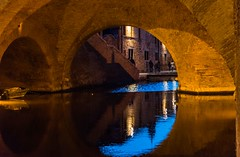 reflection of the sky at the blue hour (lucafabbricesena) Tags: blue hour comacchio trepponti reflection sky bridge emiliaromagna evening arcade architecture bricks water canal history light old building sunset twilight village
