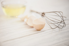 What shall I make with these eggs? (jm atkinson) Tags: whisk eggs tabletop white cracked macro d700 105mm stilllife 7dwf