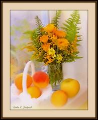Bouquet with fruit (edenseekr) Tags: stilllifecomposition flowerarrangement peaches ferns windowsill yellow calendula photopainting