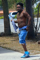 Shirtless  man with tattoos (LarryJay99 ) Tags: urbanite arms urban dude dudes guys mustache people peekingpits facialhair tattoos armpit jeans man flipflops goatee streets shirtless nipples speakers men bluejeans sagger male blue sexyman canon60d bellybutton guy face photostream underwear blackman beard canonefs18135mmf3556is