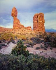 Balanced Rock - Arches National Park (Christopher J May) Tags: film landscape archesnationalpark balancedrock goldenhour stormlight utah moab largeformat 4x5 provia100f