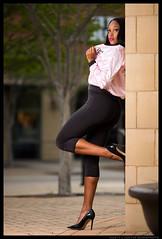 Jaleah - The Heat (jfinite) Tags: model beauty fashion environmentalportraiture spring leggings jacket legs heels