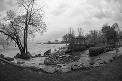 1' Above the 100 Year mean (_Matt_T_) Tags: 40creek grimsby flood pumphouse greatlakes fortycreek lakeontario bw weather smcpk17mmf40fisheye elizabethstreet documentary