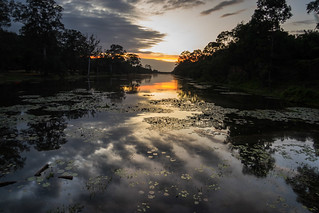 The night falls on an Angkor Thom canal.