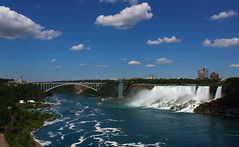 Rainbow Bridge and American Falls (pegase1972) Tags: rainbowbridge americanfalls niagarafalls bridge us usa unitedstates canada ontario water river waterfalls