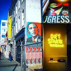 An original @obeygiant poster now visible in new @dietstartsmonday__ - image from my archives from 2008 on the left, of a much less healthy @14thandu | ❤️🌎 #instadc #DC #History #wherewecamefrom PS love the #allgender bathrooms inside