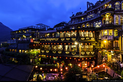 Jiufen at Dusk (olvwu | ) Tags: longexposure light sky mountain night landscape town village cloudy dusk taiwan overcast historic  teahouse touristspot    chiufen historicbuilding jiufen jioufen jungpangwu oliverwu oliverjpwu  ruifang  olvwu    jungpang  nineportions ruifangdistrict