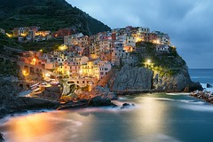 Manarola village, Italy (Beboy_photographies) Tags: longexposure morning blue sea italy long exposure village hour terre cinqueterre manarola cinque
