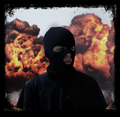 Life's Dangerous Path (Philip Sciame) Tags: life red portrait orange black self fire dangerous mask path explosion