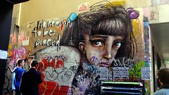 no reason to be scared- as the tagging steadily covers more and more (nickyxmakes) Tags: streetart cbd unionlane germanartists melbournestreetart herakut