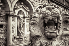 In the mouth of the lion (Johann Ingi) Tags: bw monochrome statue canon tooth mouth bokeh teeth lion 5d fangs fang mane